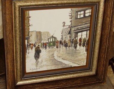 423: Street Scene in Paris Painting, Artist M. Maresca