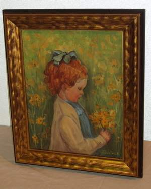 Child holding Flowers Painting, J. Gunther
