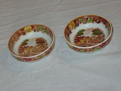 2 Enoch Woods English Nut Bowls