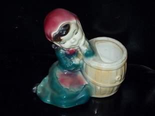 Ceramic Girl with Barrel Vase