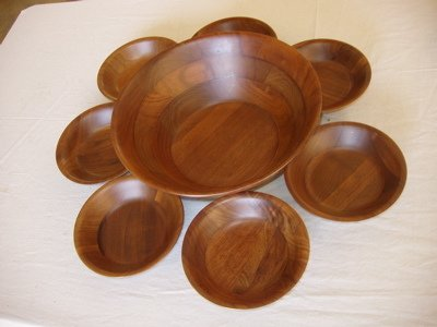 103: Solid Black Walnut Salad Bowl Set Kustom Kraft USA