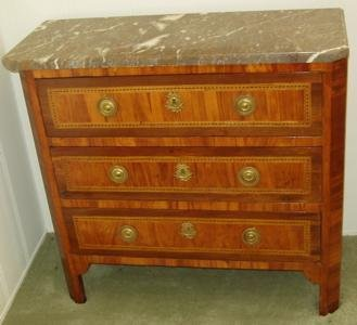 163: 18th Century Louis XVI French Marble Top Commode