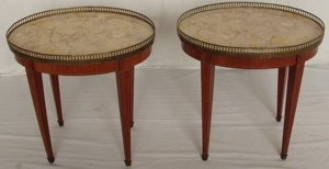 13: 2 French Marble Top Inlay Lamp Tables