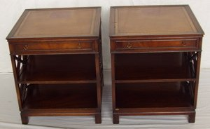 19: 2 Matching Leather Top Mahogany Lamp Tables