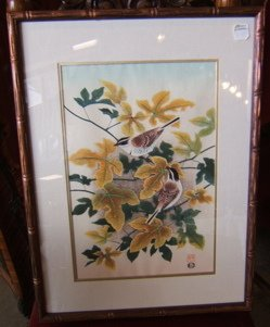 204: Oriental Wood Block Print of Birds with Fall Leave