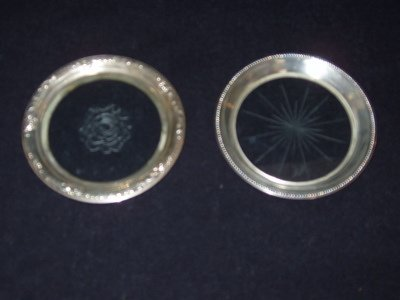 11: 2 Antique Sterling Silver Coasters