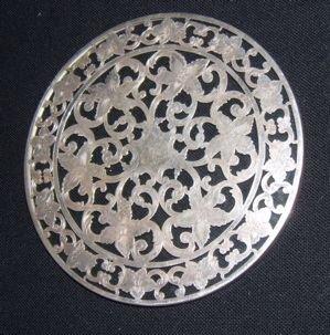 14:  Antique Sterling Silver Crystal Plate C W Webster