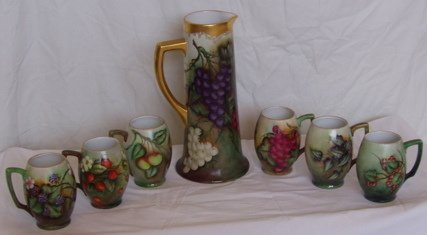 21: Antique French & German Hand Painted Pitcher & Mugs
