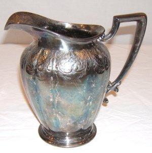 22: Antique Engraved Meriden Silverplate Pitcher