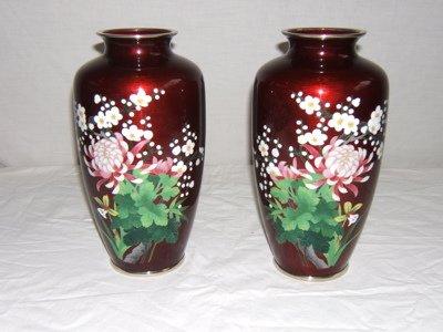 142: 2 Asian Cloisonné Vases, Signed