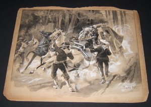 12: Early Wash Drawing by Cartoonist Dan Smith 1895