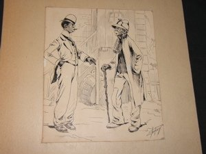 20: Cartoonist Ehrhart of 2 Black Gentleman Drawing