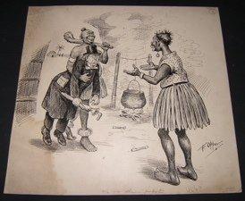 21: Cartoonist F. Opper 1800's Comics Drawing