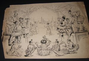 24: Cartoonist Ehrhart 1880's Drawing The Savage Opera