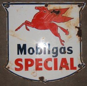 110: Antique Mobilgas Enameled Advertising Sign