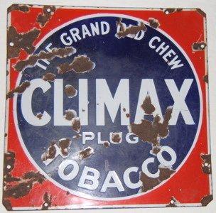 114: Antique Climax Plug Chew Tobacco Sign