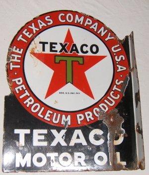 116: Antique Texaco Motor Oil Advertising Sign