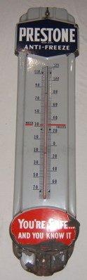 120: Antique Prestone Thermometer Sign