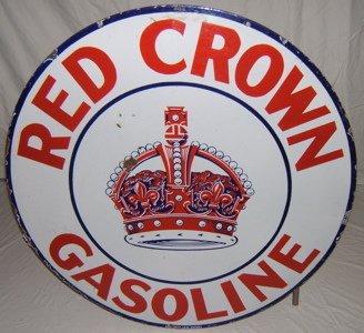 122: Antique Red Crown Gasoline Sign