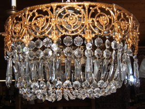 1: Brass with Crystal Dome Chandelier