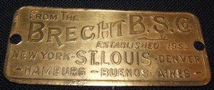 16: Brecht B.S. Co. Brass Plaque
