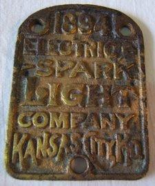 20: 1894 Electric Spark Light Plaque Co.