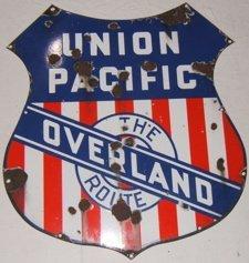 71: Antique Union Pacific Railroad Sign
