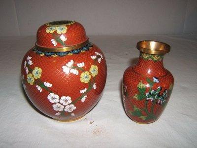 319: 2 Chinese Cloisonné Vase & Jar