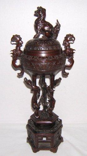 324: Antique Asian Bronze Incense Burner