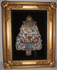 1: Costume Jewelry Tree in Shadow Box