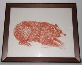 """17: Indian Drawing by O. Helgoe 1976 """"Bear"""""""