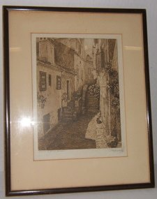 20: European Engraving of Child by Stairs, Signed