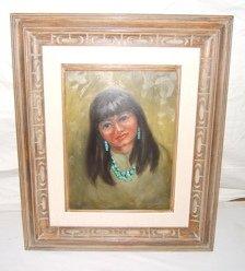 90: Native American Indian Girl Painting Doris Harrison