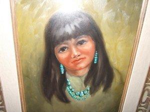 90: Native American Indian Girl Painting Doris Harrison - 2