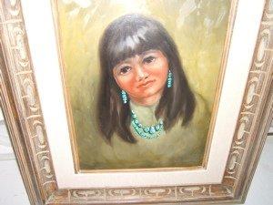 90: Native American Indian Girl Painting Doris Harrison - 3