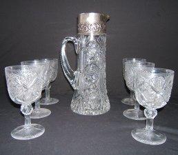 165: Antique Cut Crystal Sterling Pitcher & 6 Goblets