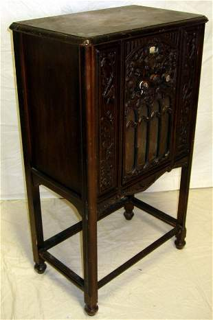 Walnut Carved Stereo Cabinet