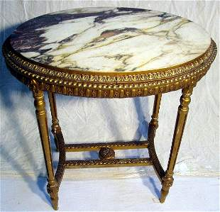 French Gold Gilt Marble Top Table