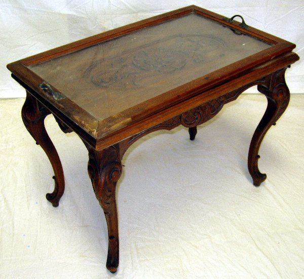 9: Heavily Carved French Tray Top Table