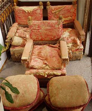 3 Chairs w/Ottomans