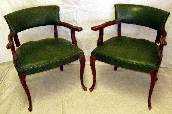 12: 2 French Style Green Fabric Chairs