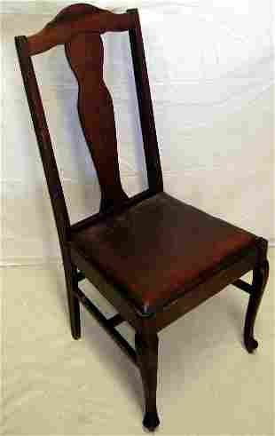Queen Anne Chairs w/Leather Fabric