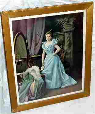 Woman in Mirror Lithograph