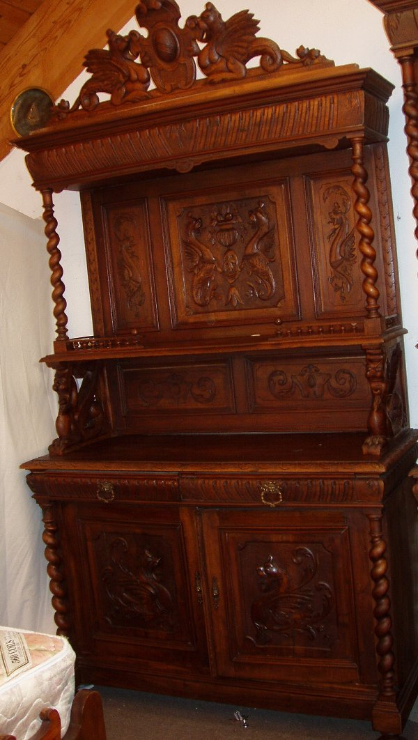 1130: Wing Griffin Rope Twist China Cabinet