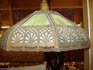 Arts & Crafts Slag Glass Hanging Fixture