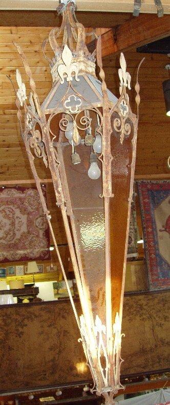 21: Gothic Style Hanging Wrought Iron Lantern