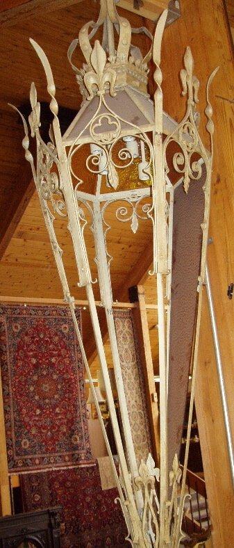 22: Gothic Style Hanging Wrought Iron Lantern