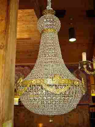Brass & Crystal Intricate Design Chandeli