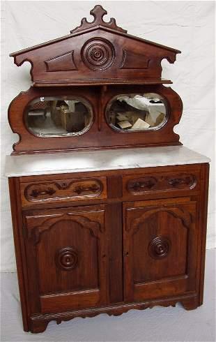 Victorian Marble Top Bevel Mirror Sideboard