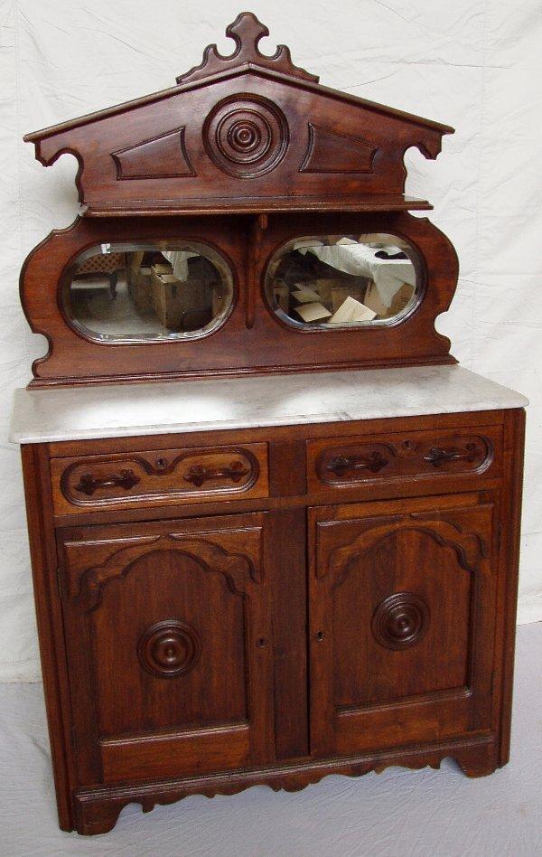 202: Victorian Marble Top Bevel Mirror Sideboard